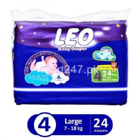 Leo Baby Diaperss Soft & Dry Size 4 (24 Pcs)