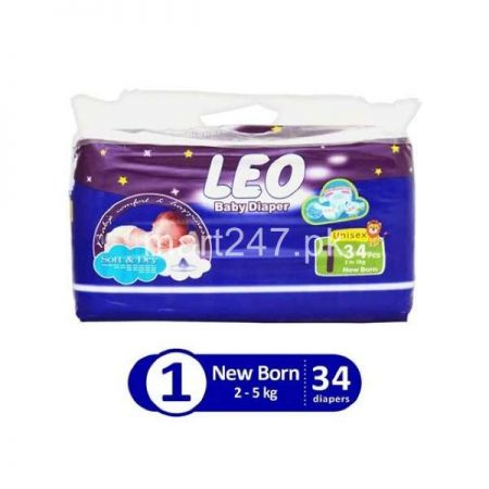 Leo Baby Diaperss Soft & Dry Size 1 (34 Pcs)