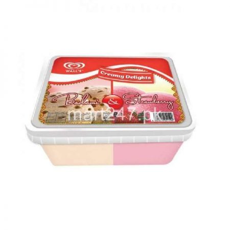 Walls Creamy Delights 2 in 1 Badami & Strawberry Tub 1.4 L