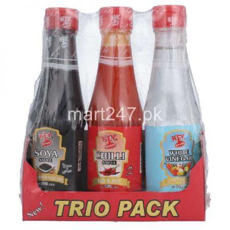 Key Brand Trio Pack Soya Sauce Chilli Sauce with free Vinegar