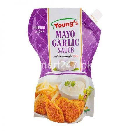 Youngs Mayo Garlic 500 Ml Free Mayo Chup 200Ml